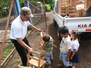Delivering FoM funded tables and chairs to pre-schools